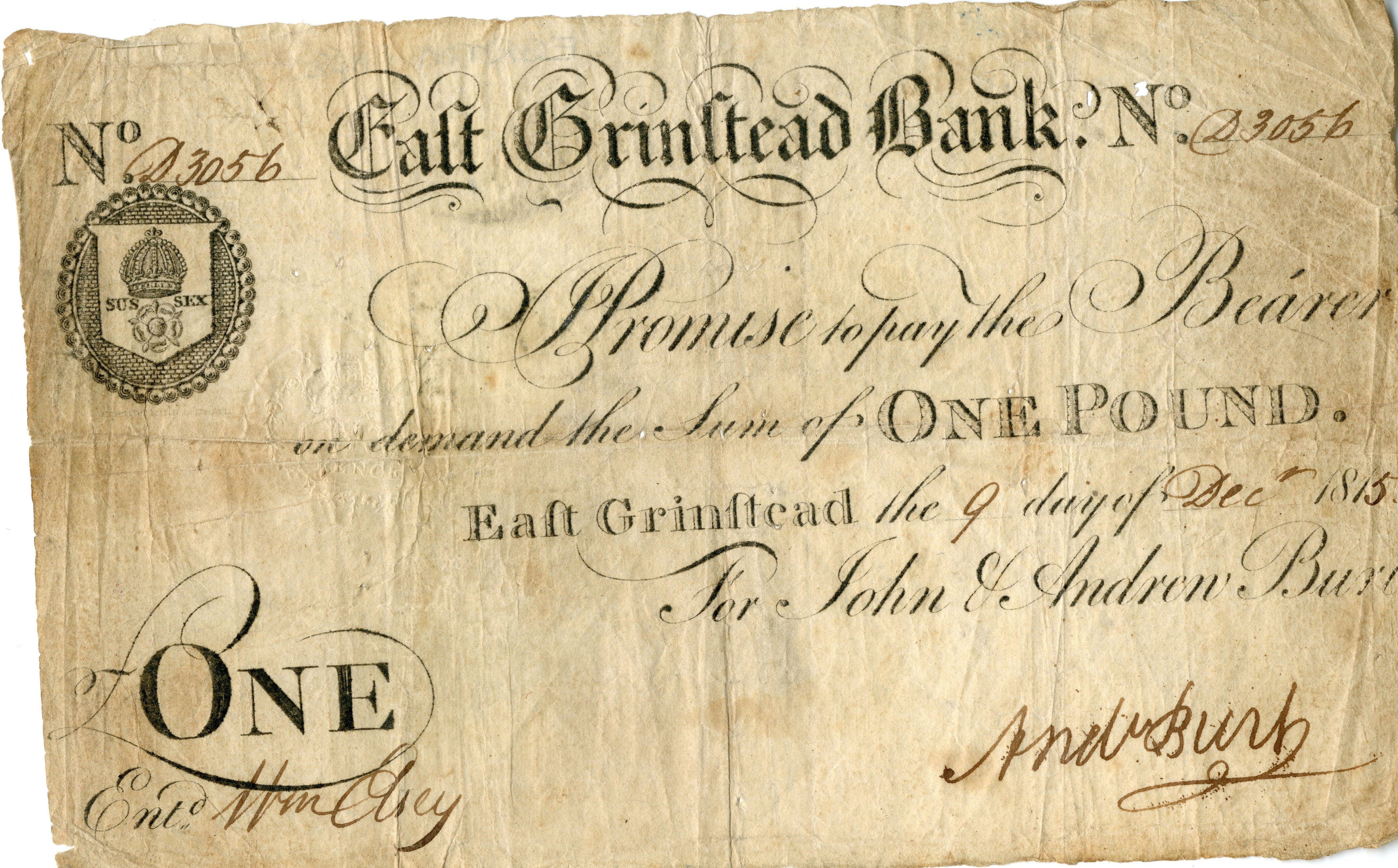 East Grinstead Museum – One Pound East Grinstead the 9th day of Dec 1815 For John & Andrew Burt
