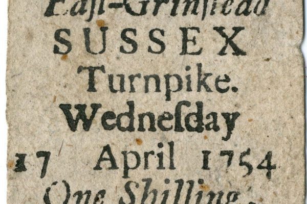 East Grinstead Museum - East Grinstead. SUSSEX. Turnpike. Wednesday. 17 April 1754. One Shilling