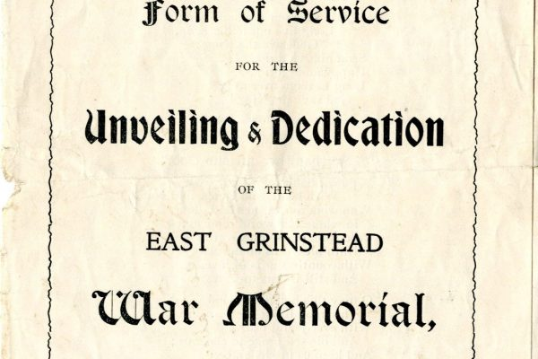 East Grinstead Museum - Form of Service for the Unveiling & Dedication of the East Grinstead War Memorial