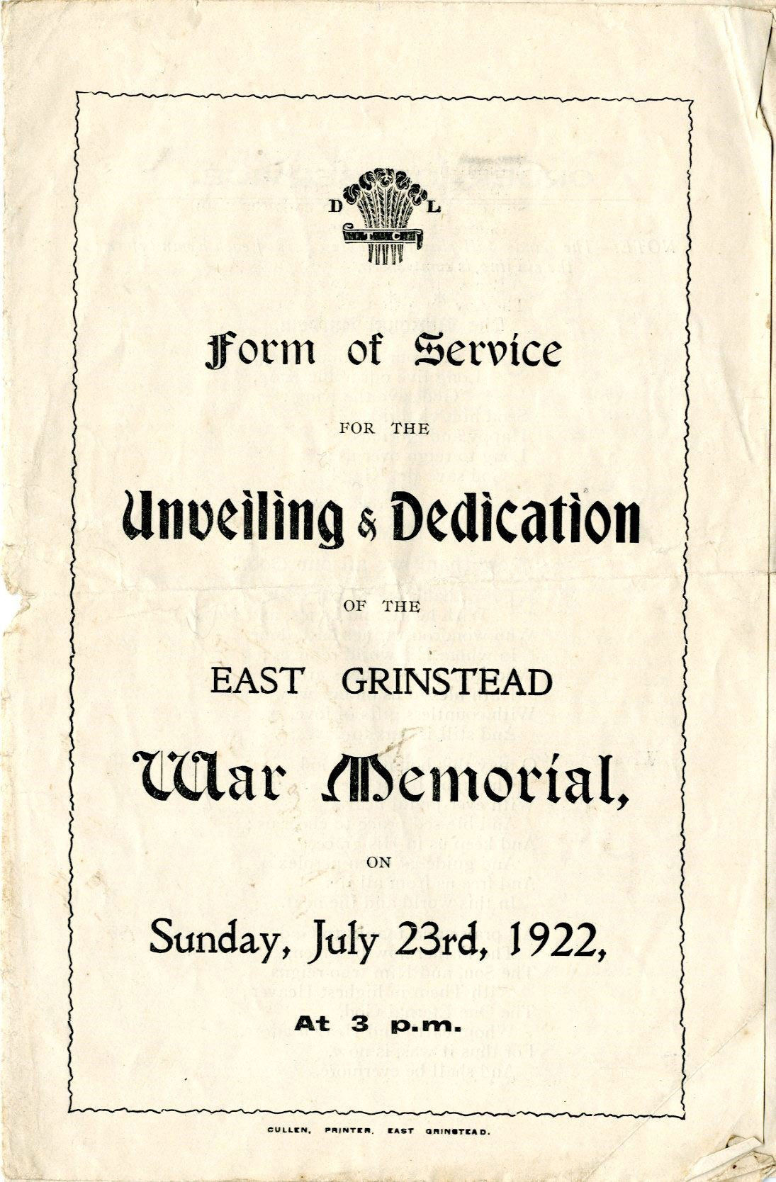 East Grinstead Museum – Form of Service for the Unveiling & Dedication of the East Grinstead War Memorial