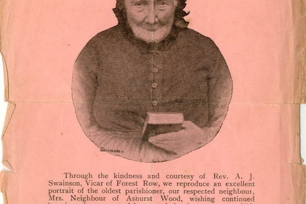 East Grinstead Museum - Mrs. Mary Neighbour Rectangular pink coloured paper printed on one