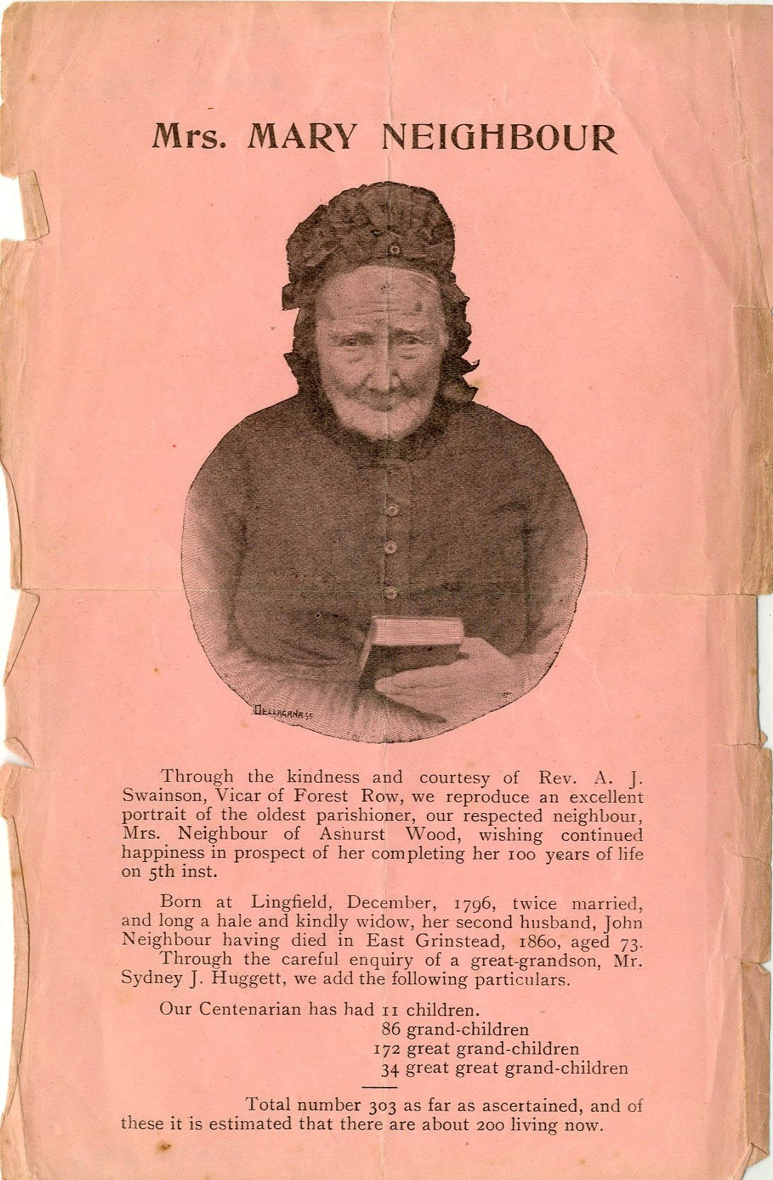 East Grinstead Museum – Mrs. Mary Neighbour Rectangular pink coloured paper printed on one