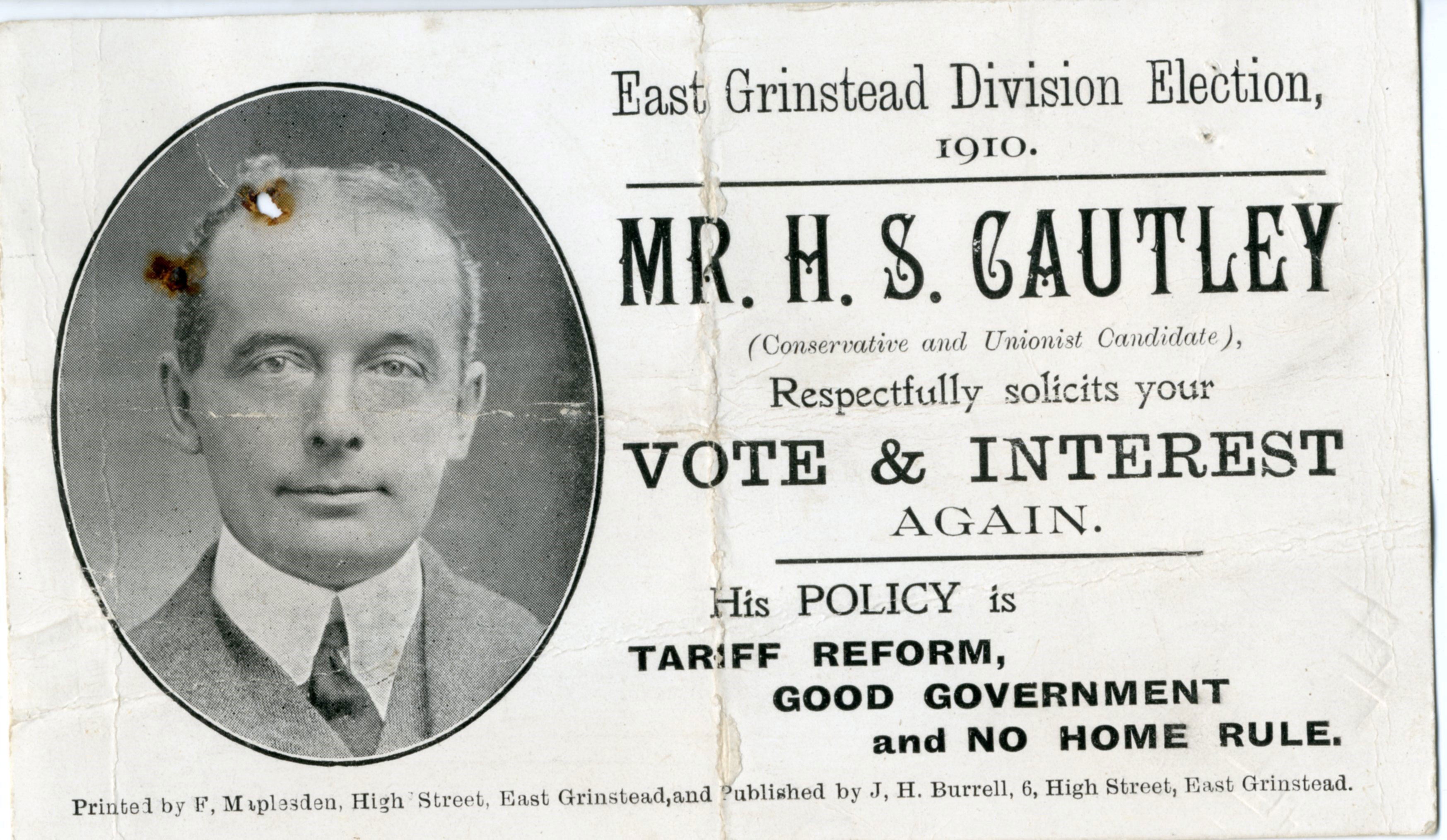 East Grinstead Museum – Solicitation card from Mr. H.S Cautley for the Conservative & Unionist Party