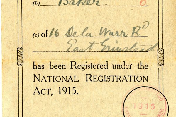 East Grinstead Museum - First World War identity ID card for William Curtis