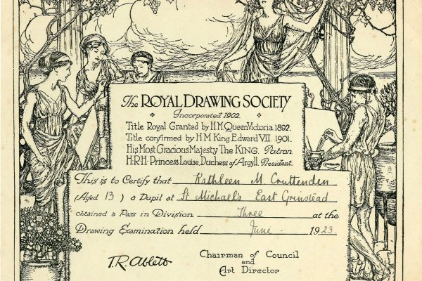 East Grinstead Museum - Royal Drawing Society Certificate for Kathleen M. Cruttenden