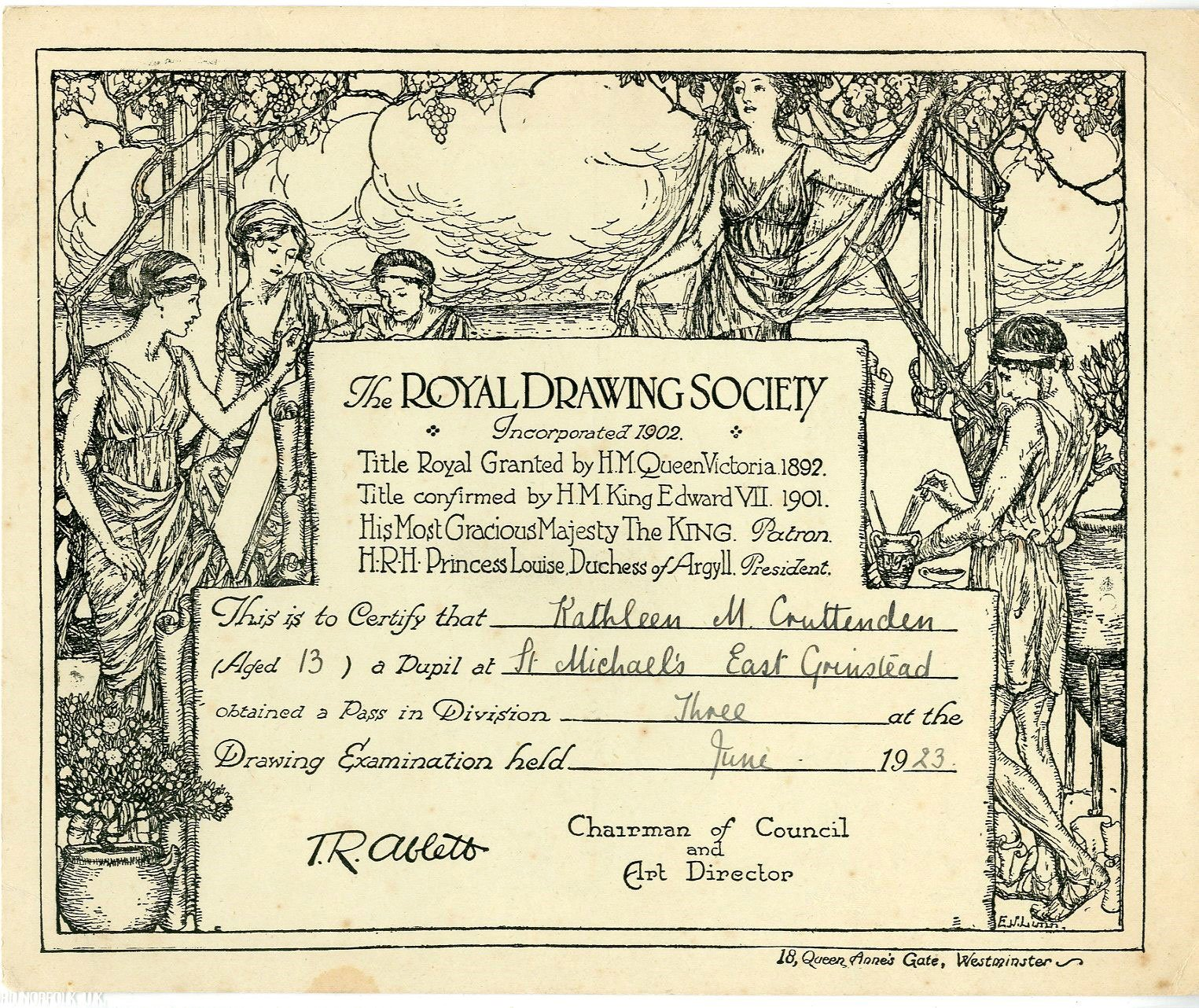 Royal Drawing Society Certificate For Kathleen M Cruttenden 1923