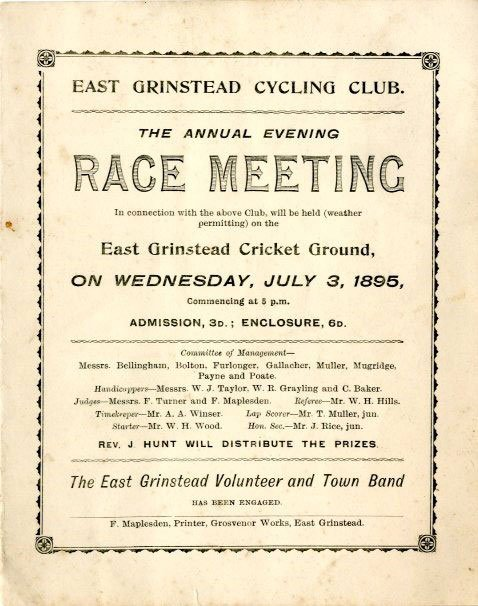 East Grinstead museum – Programme for the annual evening race meeting