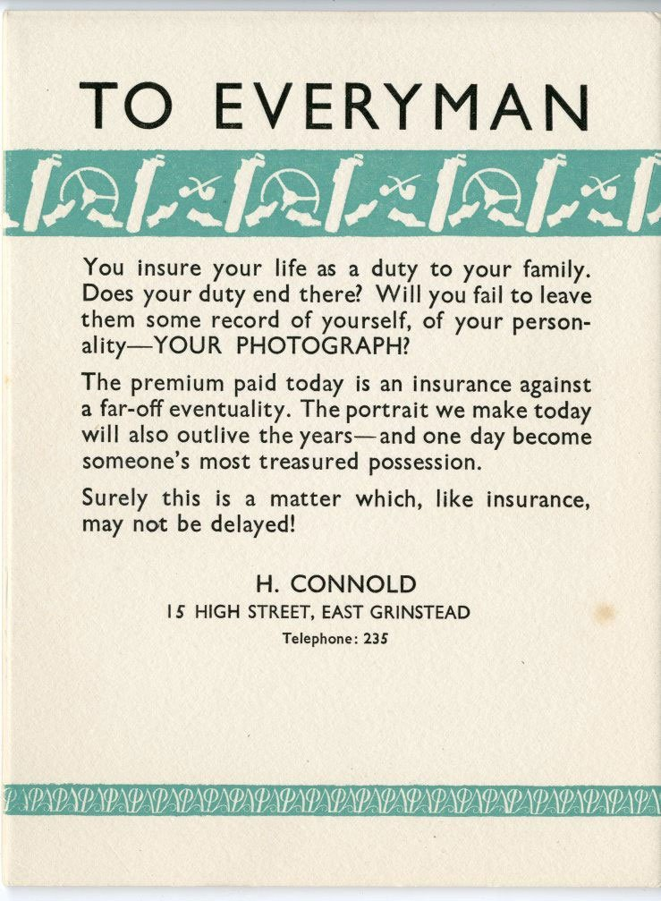East Grinstead museum – H. Connold Rectangular handbill advertising services of a local photographer