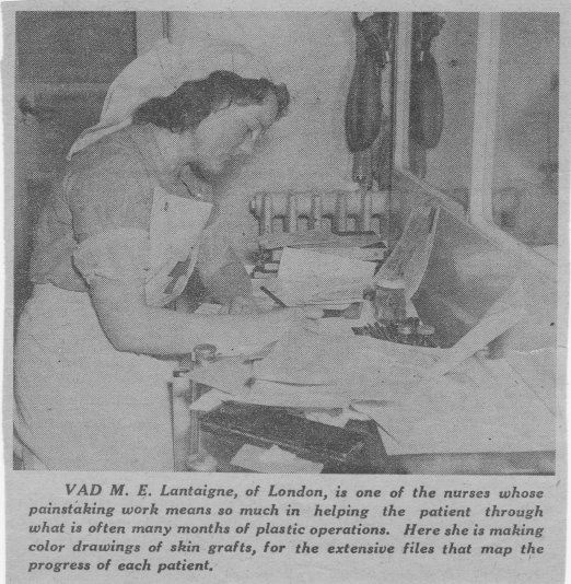 A black and white photograph of a lady wearing a nurse's uniform drawing at a desk.